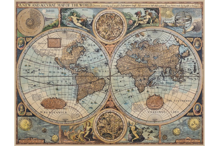 carte du monde ancienne sur toile 1626 antica objets et cartes anciennes. Black Bedroom Furniture Sets. Home Design Ideas