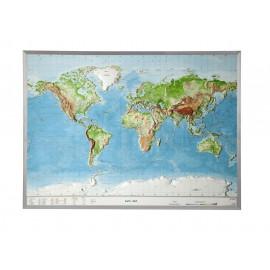 Carte du monde en relief avec cadre en aluminium