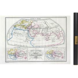 Carte des mondes anciens de Ptolémée, Strabon, et d'Erastothène en 1831