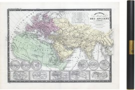 Carte des mondes anciens d'Aristote, Ptolémée, Strabon, et d'Erastothène en 1831