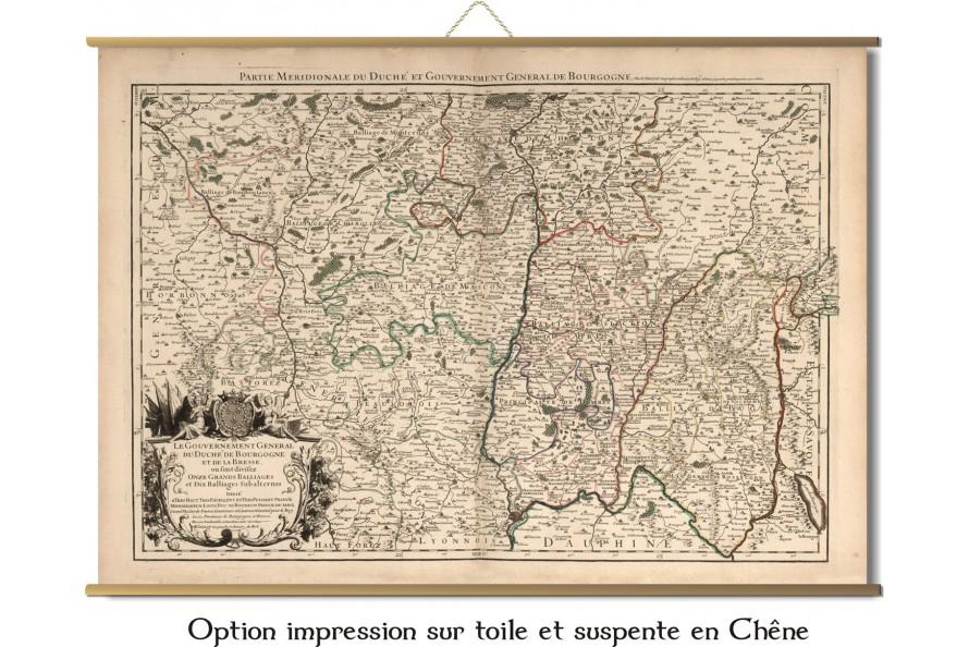 Carte ancienne de la Bourgogne, Duché et comté de Bourgogne en 1695