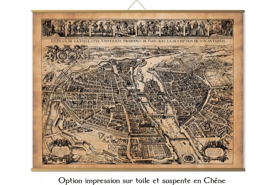 carte ancienne de Paris en 1627