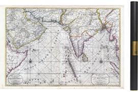 Carte ancienne de l'Océan indien en 1708