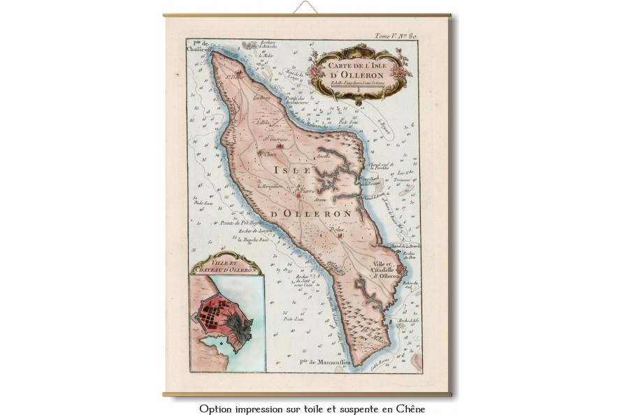 Carte ancienne de l'ile d'Oleron en 1764