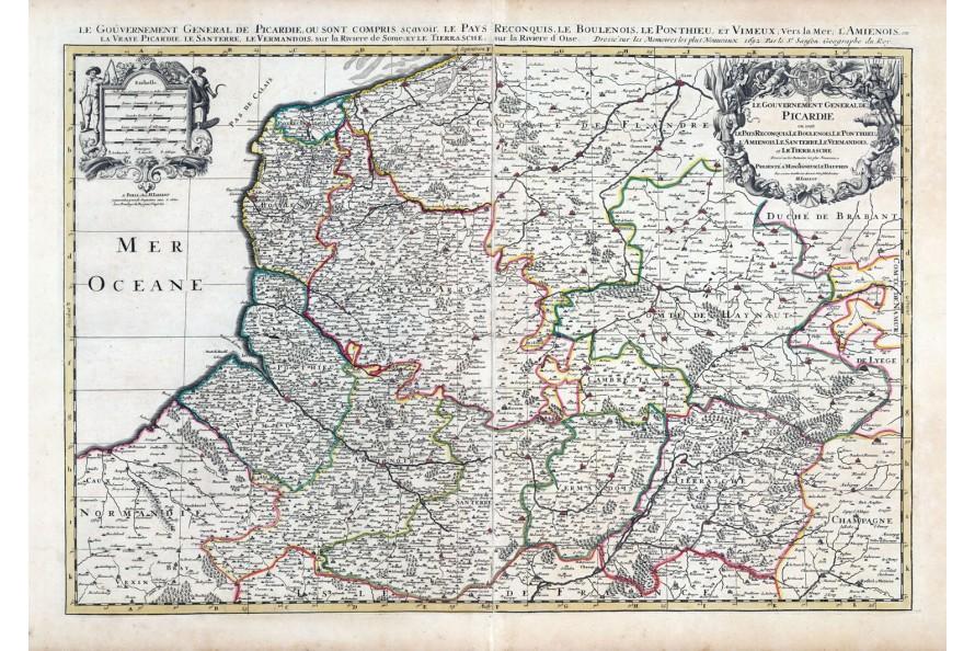 Carte de la Picardie de 1708