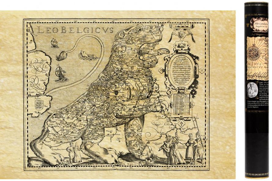 Leo Belgicus ! Carte ancienne de la belgique en 1617