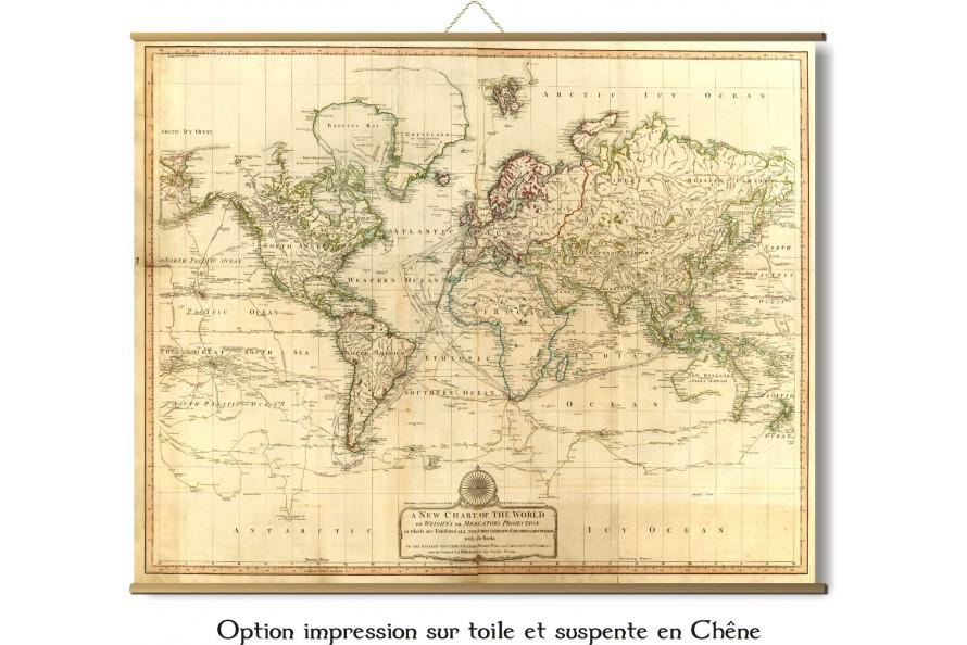 Carte du Monde des découvertes en 1801