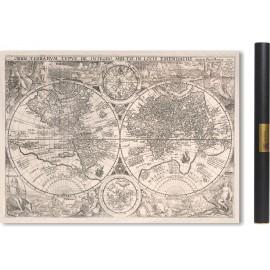 Carte du Monde 1594 (Version avec peuples et animaux du monde)