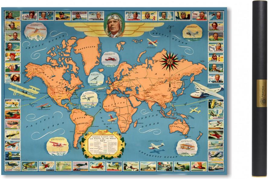 Carte des expéditions d'aviateurs 1937